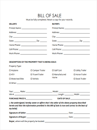 6 trailer bill of sale forms free sample example format download