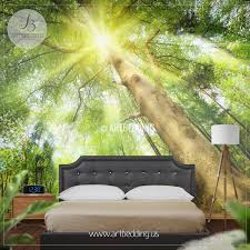 Forest Mural by Sun Rays Setting A Magical Mood In Forest Photo Wall Mural