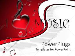 powerpoint template i love music text surrounded by music tones