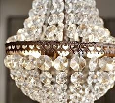 Replacement Glass Crystals For Chandeliers Mia Faceted Crystal Chandelier Pottery Barn
