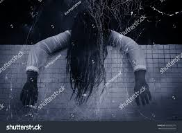 halloween ghost and haunted house background scary ghost woman haunted househorror background stock photo