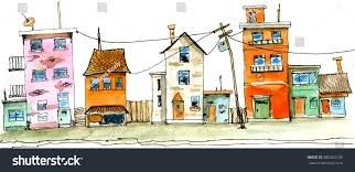 street scene old town colorful childish stock illustration