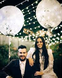 Backyard Engagement Party Decorations by Engagement Party Photography Lights Balloons Asilio White Boho Diy