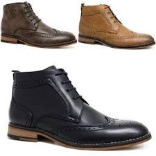 mens cavani leather boots new smart formal brogue combat lace