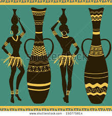 African Vases African Seamless Pattern Tribal Seminude Girls Stock Vector