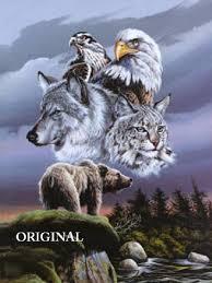 wolf eagle hawk lynx counted cross stitch pattern