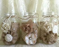 Mason Jar Vases Wedding Navy Burlap And Lace Covered 3 Mason Jar Vases By Pinkyjubb