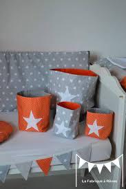 chambre bebe orange pochons rangement réversible chambre bébé garçon orange gris blanc