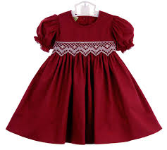 le za me cranberry smocked dress with antique white smocked waist