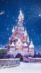 disney castle christmas lights snow android wallpaper free download