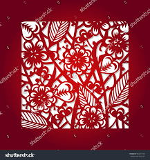 laser cut flower square pattern decorative stock vector 546477100