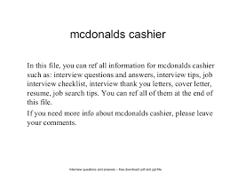 Cashier Example Resume by Sample Resume For Mcdonalds Cashier Cashier Resume Template