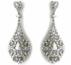 wedding earrings drop drop style filigree and earrings halo jules bridal