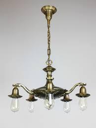 Art Deco Light Fixture Art Nouveau Bare Bulb Light Fixture 5 Light