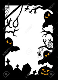 vector halloween halloween silhouette frame vector illustration royalty free