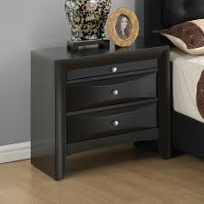 modern 3 drawer nightstands wood frame material knobs metal handle