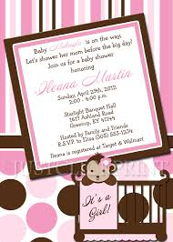 mod baby shower mod monkey pink brown baby shower invitation printable just