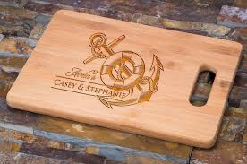 cutting board personalized custom engraved bamboo cutting board personalized nautical anchor