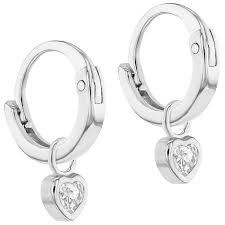 baby hoop earrings 925 sterling silver cz heart charm baby hoop earrings toddlers