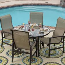 Sling Patio Chairs Acadia 5 Piece Sling Patio Dining Set With Glass Table By Lakeview