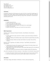 Sample Resume For Construction Site Supervisor by Professional Construction Subcontractor Templates To Showcase Your