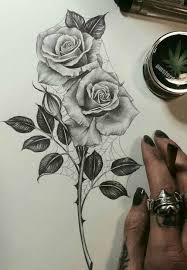 drawn rose bush half sleeve pencil and in color drawn rose bush