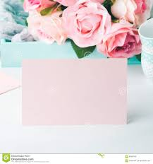 Family Day Invitation Card Blank Paper Pink Card Valentine S Day And Roses Invitation Stock