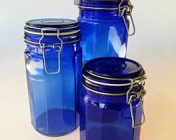 blue kitchen canister blue canisters etsy