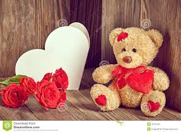 teddy valentines day valentines day teddy alone roses note stock image