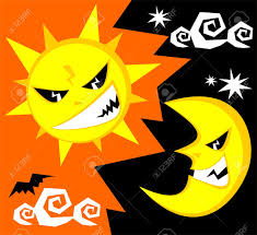 cartoon funny sun and moon halloween illustration royalty free