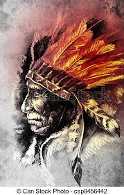 clip art of indian head chief illustration sketch of tattoo art