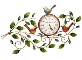 leaf bird wall clock home decor wall frame metal handicraft online