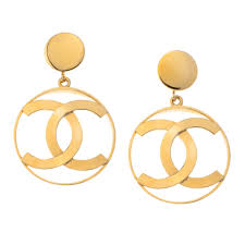 iconic earrings vintage chanel iconic cc dangling earrings