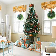 living room at christmas brown leather sofa mantel ideas for