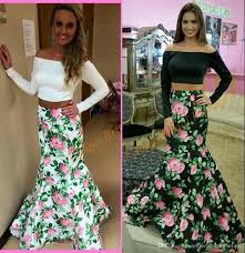 2016 prom dresses print floral roses with long sleeves and off