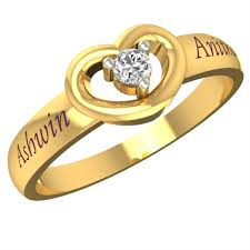name rings for customized lovely heart gold name ring gold rings for women
