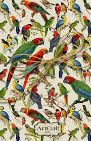 birds print wrapping paper digital collage sheet
