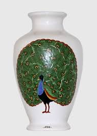 Design For Vase Painting Painted Decorative Vase With Peacock Design Art And Decors