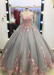 big wedding dresses unique grey gown appliqued cap sleeves prom dress big