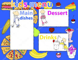 cute colorful kids meal menu vector template with funny cartoon