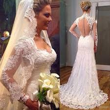 mermaid style wedding dress 2016 style lace wedding dresses turkey sleeve v neck