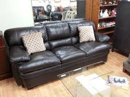 vintage black genuine lather love seat furniture finest lazy boy