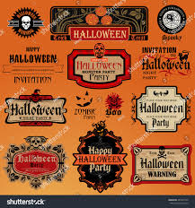 vintage halloween flyer background collection halloween labels frames retro vintage stock vector