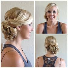 bridesmaid hair to the side bridal side swept bun updo wedding