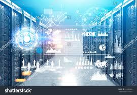 modern server room bitcoin farm interior stock illustration