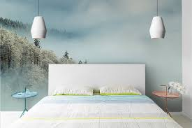 chambre peinte papier peint chambre forêt enneigée izoa