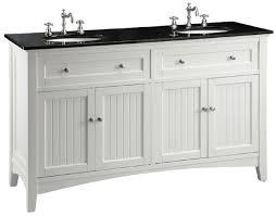 White Bathroom Vanity With Black Granite Top - 60 inch white beadboard bathroom vanity with black galaxy granite