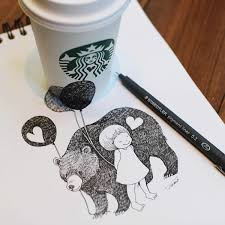 lovely whimsical anamorphic drawings extend from notepad onto