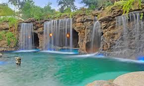 backyard waterfall designs pool with grotto and waterfall pool