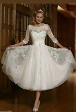 Vintage Wedding Dresses Uk 3 4 Sleeve Short Wedding Dresses Ebay
